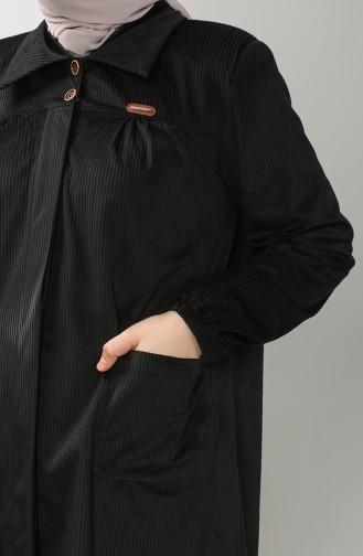 Büyük Beden Gömlek Yaka Kadife Tunik 4931-06 Siyah