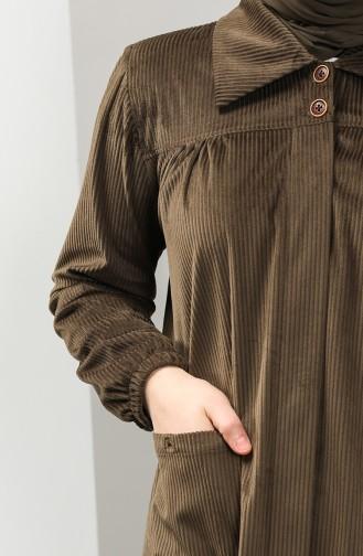 Büyük Beden Gömlek Yaka Kadife Tunik 4931-01 Haki