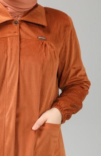 Büyük Beden Gömlek Yaka Kadife Tunik 4931-02 Kiremit