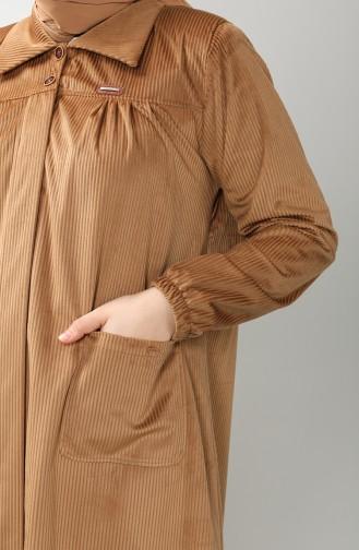 Büyük Beden Gömlek Yaka Kadife Tunik 4931-04 Camel