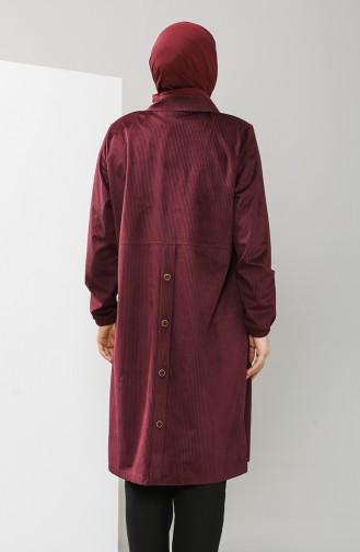 Büyük Beden Gömlek Yaka Kadife Tunik 4931-05 Mürdüm