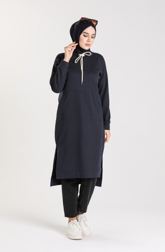 Pocketed Tunic 3234-08 Navy Blue 3234-08