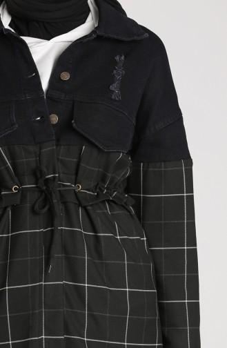 Beli Bağcıklı Kot Ceket 4291CKT-05 Lacivert Siyah