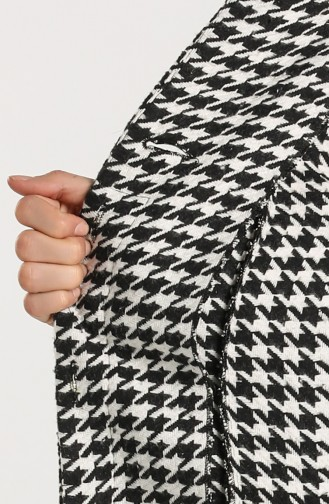 Houndstooth Patterned Stamp Coat 0306a-01 Black white 0306A-01