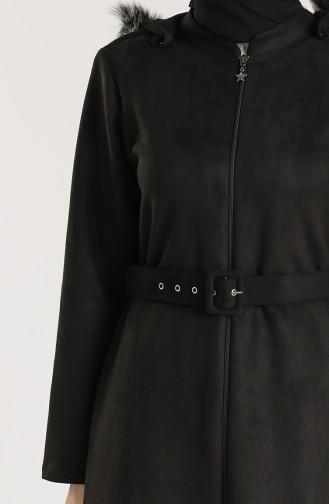 Plus Size Hooded Suede Coat 0119-01 Black 0119-01