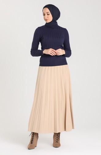 Knitwear Neck Short Sweater 0603-05 Navy Blue 0603-05