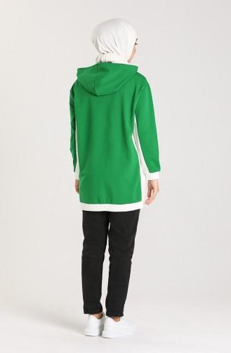 Kapüşonlu Sweatshirt 0255-01 Zümrüt Yeşili