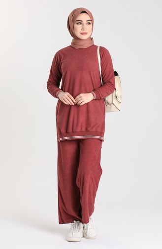 Ribbed Tunic Trousers Double Suit 9029a-03 Dry Rose 9029A-03