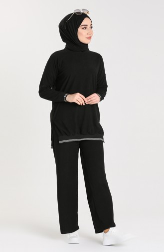 Ribbed Tunic Trousers Double Suit 9029a-06 Black 9029A-06