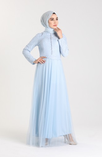 Babyblau Hijab-Abendkleider 5076-01