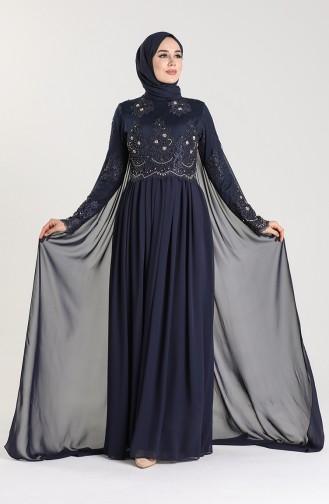 Lace Evening Dress 6008-02 Navy Blue 6008-02