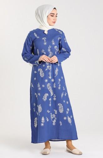 Chile Patterned Dress 2727-05 Indigo 2727-05