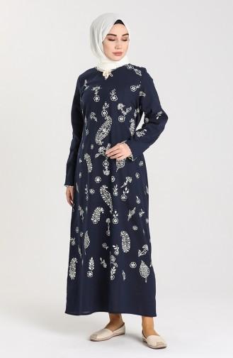 Chile Patterned Dress 2727-06 Navy Blue 2727-06