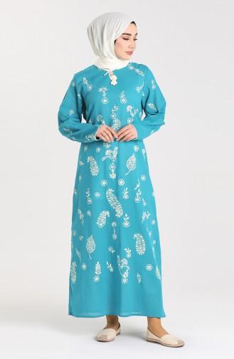 Şİle Bezi Desenli Elbise 2727-07 Petrol