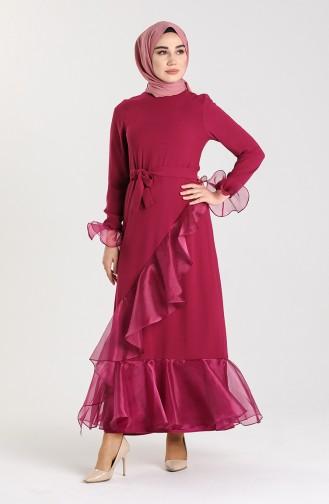 Organza Fabric Belted Dress 2020-01 Plum 2020-01