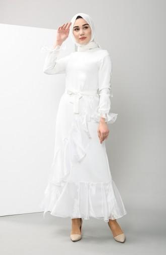 Organza Fabric Belted Dress 2020-03 Ecru 2020-03