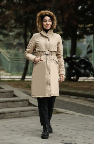 Furry Quilted Coats 6003-05 Stone 6003-05