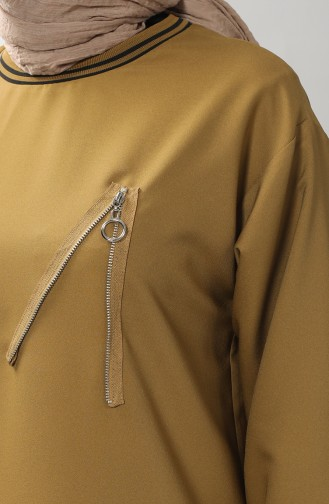 Zipper Detailed Tunic Trousers Double Suit 0312-03 Oil Green 0312-03