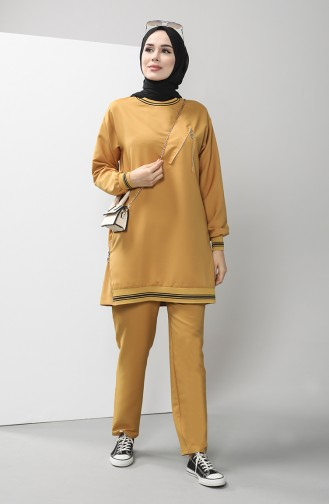 Zipper Detailed Tunic Trousers Double Suit 0312-04 Mustard 0312-04