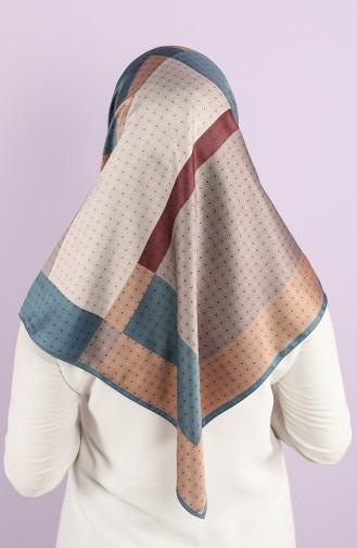 Karaca Synthetic Silk Twill Scarf 90743-03 Petrol Dark Burgundy 90743-03