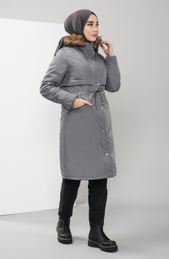 Furry Quilted Coats 6003-03 Gray 6003-03