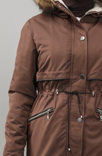 Furry Quilted Coats 6003-06 Brown 6003-06