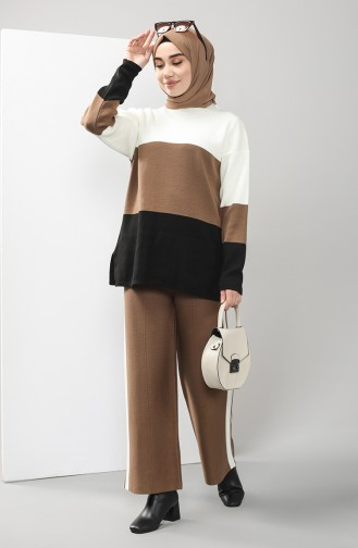 Knitwear Tunic Trousers Double Suit 0604-02 Ecru Tobacco 0604-02