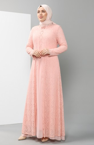 Plus Size Lace Covered Evening Dress 5070-06 Salmon 5070-06
