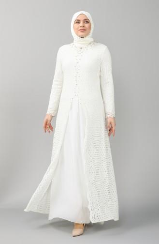Ecru Hijab Evening Dress 5071-01