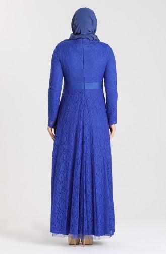 Plus Size Lace Stone Evening Dress 5082-01 Saxe Blue 5082-01