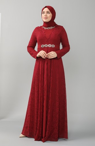 Plus Size Lace Stone Evening Dress 5082-02 Burgundy 5082-02