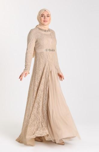 Plus Size Lace Stone Evening Dress 5082-04 Mink 5082-04