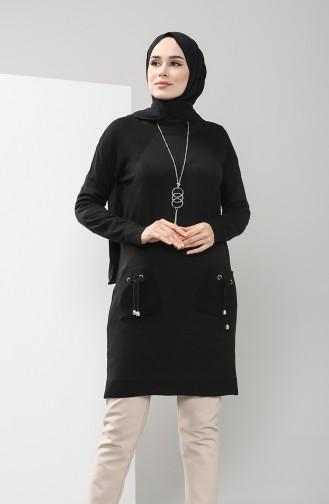 Triko Cepli Tunik 9223-01 Siyah