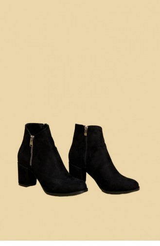 Black Suede Heeled Boots Sm Ta03 03