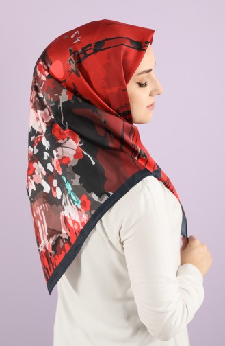 Patterned Scarf 15233-01 Navy Coral Red 15233-01
