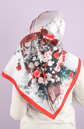 Patterned Scarf 15233-11 Silver Gray Red 15233-11