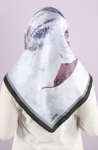 Desenli Eşarp 15234-08 Siyah Gümüş Gri