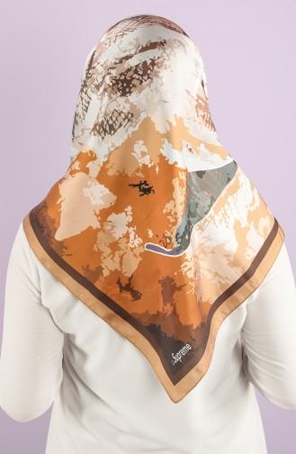 Desenli Eşarp 15234-09 Camel Kahverengi