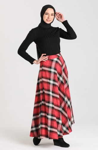 Plaid Flared Skirt 1113-01 Dark Red 1113-01