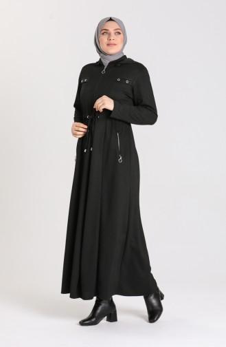 Plus Size Hooded winter Abaya 2035-01 Black 2035-01