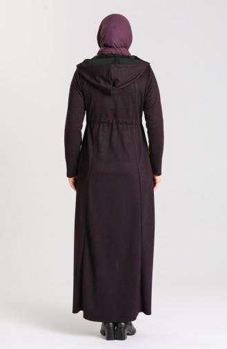 Plus Size Hooded winter Abaya 2035-02 Purple 2035-02