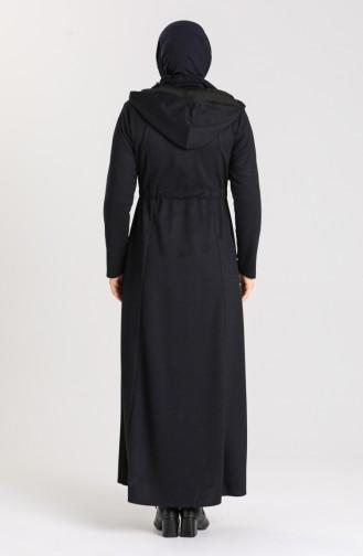 Plus Size Hooded winter Abaya 2035-04 Navy 2035-04