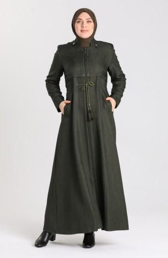 Plus Size waist Gathered Zippered Coat 1018-03 Khaki 1018-03