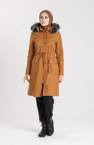 Fur Hooded Coat 1002-02 Dark Mustard 1002-02