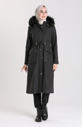 Fur Hooded Coat 2082-04 Smoked 2082-04