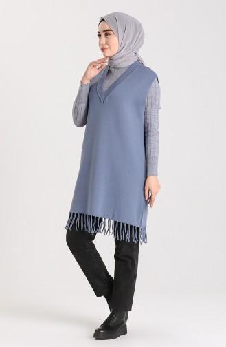 Knitwear Tasseled Sweater 4257-04 Indigo 4257-04