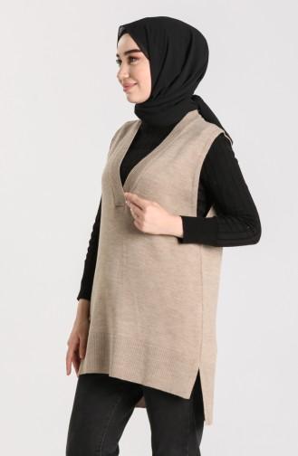 Knitwear V-neck Sweater 4261-01 Mink 4261-01