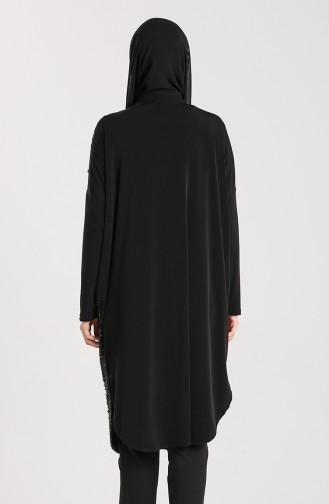 Yarasa Kol Maske Hediyeli Tunik 0107-01 Siyah
