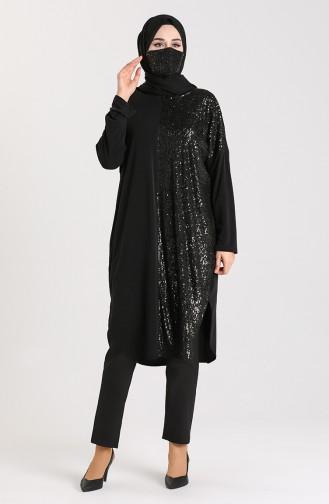 Yarasa Kol Maske Hediyeli Tunik 0108-01 Siyah