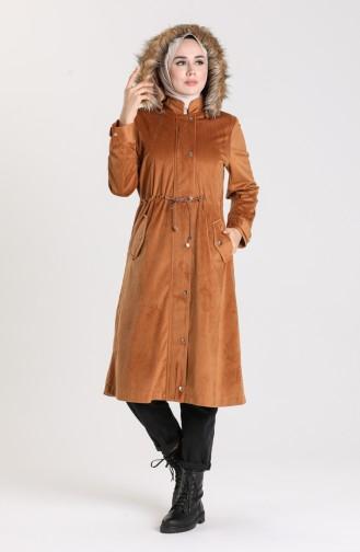 معطف طويل عسلي 5126-04
